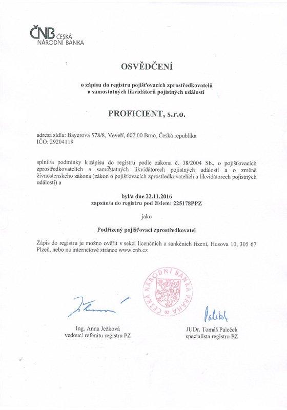 Registrace ČNB